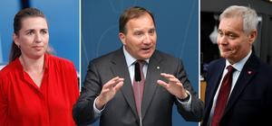 Nordens tre socialdemokratiska statsministrar – danska Mette Fredriksen, svenske Stefan Löfven och finländske Antti Rinne. Foto: TT