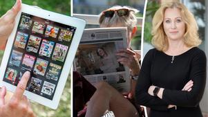 Jeanette Gustafsdotter, vd på TU, stämmer in i uppmaningen till regeringen om att sänka momsen för digital journalistik. Bilder: Maja Suslin/TT / Hasse Holmberg/TT / Jonas Hellsén