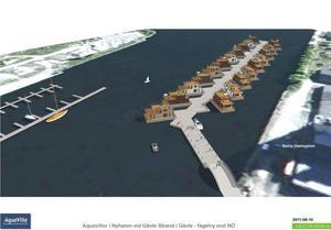 Husen skulle ligga förtöjda vid en flytande pir i hamnbassängen, intill den planerade marinan.