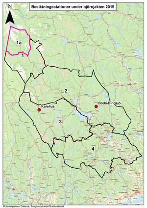 De olika områdena för 2019 års björnjakt, inklusive de två fasta besiktningsstationerna. Illustration: Länsstyrelsen.