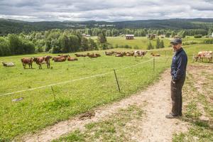 Mjölkbonden Karl-Axel Andersson i Krokvåg väntar på regn.