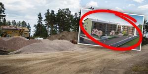 Det nya bostadsområdet Surbrunnshagen ligger mellan Kungsgårdvägen och Majorens köpcentrum i Falun. Foto: Lina Hård, Kopparstaden
