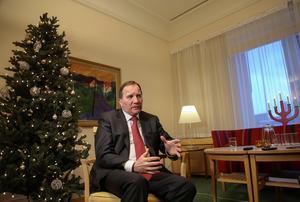 Statsminister Stefan Löfven (S) håller sitt jultal i Köping.Foto: Hossein Salmanzadeh/TT