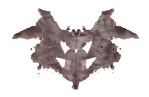Ett ursprungligt  rorschachtest från 1921. Bläckbild av Hermann Rorschach.