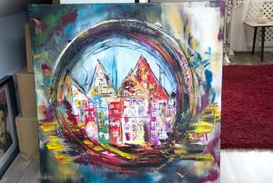 Veronika Eriksson har med åren alltmer målat stadsmotiv. Hon fascineras av hus.