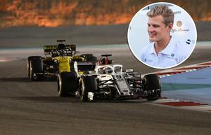Marcus Ericsson tog sin Sauber till två VM-poäng i Bahrain, hans första poängplats sedan 2015. Inte undra på att örebroaren var strålande glad.Bild: TT