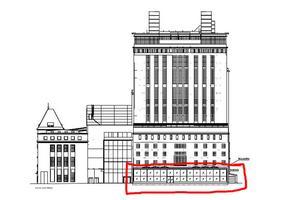 Ritning av Ångkraftverket där Steam hotel är inrymt. Den planerade tillbyggnade är inringad med rött.