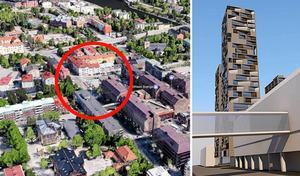 Kommunen vill utreda fastighetsägarens planer på höghus längs med Nygatan, på parkeringen vid gamla polishuset.Foto: Google maps/Södertälje kommun
