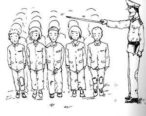 Lärarna vid skolan i läger 14 var uniformerade vakter. Den här vakten slog ihjäl en sexårig klasskamrat till Shin med en pekpinne.  En av Shin Dong-hyuks teckningar från lägret.
