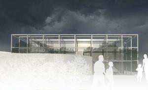 Skissen på den nya simhallen i Örnsköldsvik som kommer att byggas i anslutning till dagens Paradiset.  Skiss: Staffan Lindahl/TM Konsult