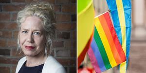 """""""Vi Moderater vill att Sverige ska vara ett land där alla kan leva i trygghet och frihet – oavsett könsidentitet, könsuttryck eller sexuell läggning"""" skriver Catharina Enhörning (M) Falun. Foto: Privat/TT/montage"""