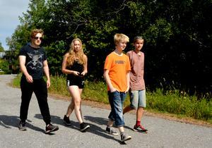 Erik Svedberg, Elin Wiklund, Simon Sjödin och Mathias Flodin är på väg ner till Vi centrum.