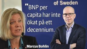 SCB:s senaste BNP-statistik lär göra Finansminister Magdalena Andersson (S) glad. Men allt är inte frid och fröjd.