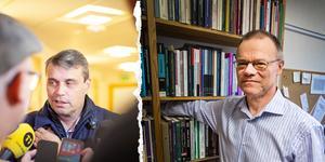 Daniel Kindberg till vänster och Tage Alalehto, expert på ekonomisk brottslighet och docent i sociologi vid Umeå Universitet, till höger. Bild: Linda Hedenljung & Per A Adsten/VK