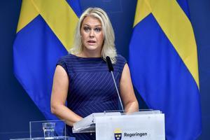 Socialminister Lena Hallengren (S) vid en tidigare pressträff.