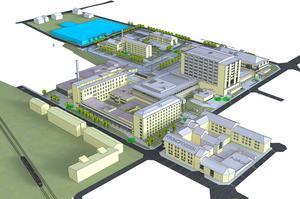 Bilden visar första etappen av utbyggnaden norr om sjukhuskvarteret. Men först ska gamla byggnader rivas i det området. Illustration ur fastighetsutvecklingsvision.