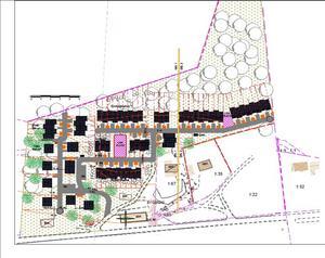I den planansökan som Vikbergs fastigheter har lämnat in är vision att  bygga över sextio bostäder. Utöver planerna på bostäder vill man även bygga vägar, lekplatser och en sopstation.Skiss: Vikbergs fastigheter