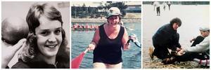 Marianne Eldebrink levde ett aktivt liv präglat av idrott – till vänster en bild av LT-fotografen Kjell Gustavsson från 1972, i mitten är hon starter i en drakbåtstävling på Maren i slutet av 1990-talet och till höger hjälper hon en elev med skridskorna vid Måsnaren 1999. De två sistnämnda bilderna är privata.