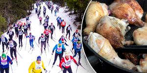 Vasaloppets skidåkare får äta kött efter loppet i år. Foto: TT