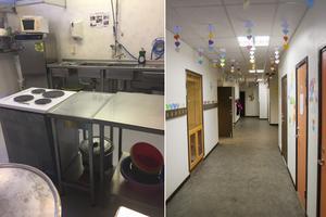 Bilden av skolköket är tagen av en anställd och till höger syns korridoren.