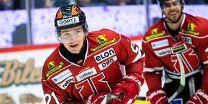 Linus Öberg har den här säsongen gjort 18 matcher i SHL och har på dessa noterats för två mål och en assist. Foto: Johan Bernström/BILDBYRÅN