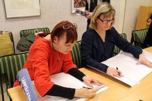 Marie Bendroth Karlsson från högskolan i Gävle och Marie Ytterbom från kulturskolan i Gävle var nöjda med konferensen i Edsbyn.