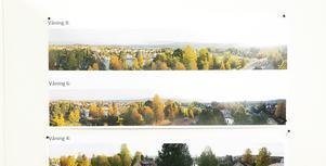På samrådsmötet fanns flygbilder som visade den tänkta utsikten från olika våningsplan. (Foto: Leksands kommun)