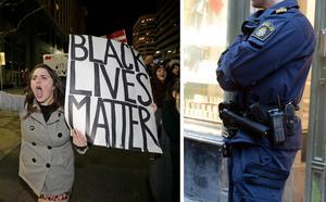 Även vi borde, likt många amerikanska medborgare, demonstrera mot en polismyndighet där rasism inte verkar vara ett hinder för befordran, menar Rolf Ö. Bild: Rick Bowmer/AP/TT / Bertil Enevåg Ericson/TT
