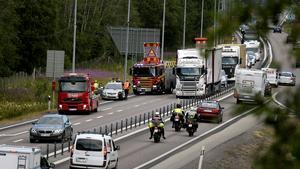 Olyckan inträffade i södergående körfält.