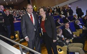 Partiledaren Stefan Löfven och partisekreteraren Carin Jämtin på första dagen av S-kongressen i Svenska mässan i Göteborg.