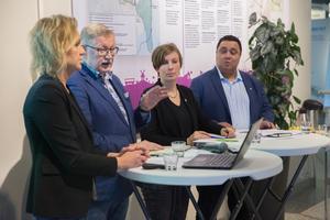 Toppnamnen i Södertäljes kommunmajoritet: Boel Godner (S), Tage Gripenstam (C), Hanna Klingborg (MP) och David Winerdal (KD).