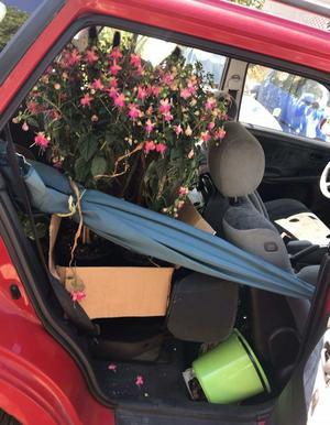 I den stoppade bilen hittade polisen en stor mängd misstänkt stöldgods. Bland annat parasoll och blommor som värderades till 1 500 kronor. Bild: Polisens förundersökning