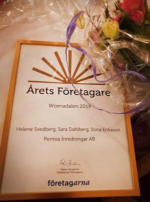 Helene Svedberg, Sara Dahlberg och Stina Eriksson är alla otroligt stolta över utmärkelsen som årets företagare.