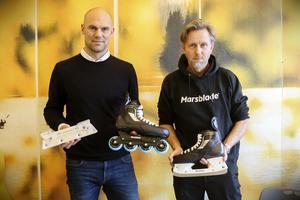 Per Mårs tillsammans med Hans Victor, en av hans närmaste medarbetare för Marsblade. Företaget jobbar både med själva inlineskridskon samt skenan.