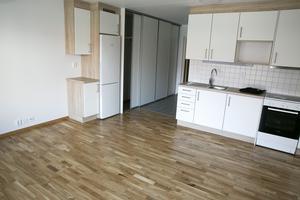 Trägolv och vita luckor i det här nya köket.