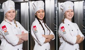Emelie Morelius från Avesta, My Lindqvist från Borlänge och Maja Westlund från Djurås kom alla på topp fyra i tävlingen. Foto: Sveriges bagare & konditorer