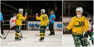 Ljusdals två tremålsskyttar i matchen – Jonas Pettersson och Misha Svechnikov.