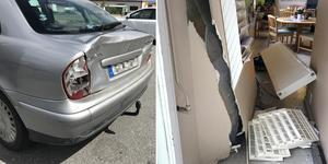 Väggen förstördes och elementet lossnade när en bil backade in i Hela Människans byggnad.