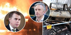 William Elofsson, M, och Jörgen Edsvik, S, kan båda tänka sig kommunala ordningsvakter och trygghetskameror för att få slut på bilbränderna.