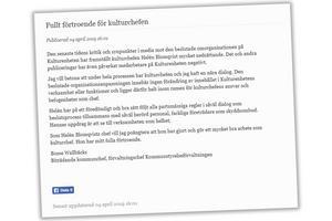 Skärmdump på Bosse Wallbäcks uttalande på Bollnäs kommuns hemsida.