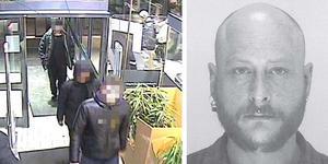 Tre av gärningsmännen fastnade på övervakningsfilm när de handlade på en affär i samband med mordet. Till höger är en bild på Magnus Natschki, 36. Bilderna kommer från polisens förundersökning.