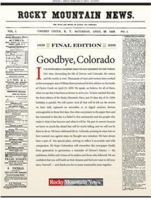 Den 27 februari 2009 lades Rocky Mountain News ner, bara två månader före sitt 150-årsjubileum. Foto: rockymountainnews.com