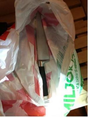 När mannen greps hittades också den kniv som användes vid rånet. Bild: Polisens förundersökning