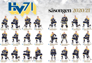 Uppslag med HV:s A-lag i JP:s hockeybilaga.