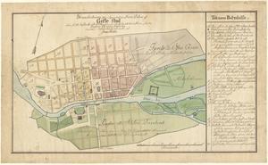 Gävle på en karta från 1776. Kvarteren (= stadsdelarna) är numrerade. Innanför stadens staket och tullportarna i norr och söder är rätt stora ytor utritade för tänkta framtida gator och bebyggelse. En tillväxtpotential som nyttjades som betesmark och odlingsland.