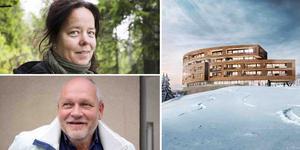 Malin Sahlin på Naturskyddsföreningen, Ulf Ejenstam som företräder exploatören och det planerade utseendet på nya Ullådalsstugan. Bildmontage.