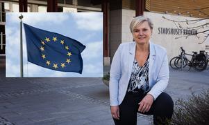 Nej, Anna-Belle Strömberg hyser inget hopp om att jobba under EU-flagg – men kampanjar för fullt ändå. Bilden är ett montage