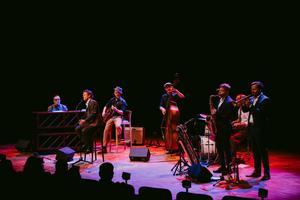 Bo Sundström och hans eminenta jazzmedmusiker. Bild: Martin Bohm