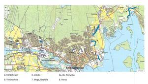Kartan visar sex av de planerade gång- och cykelstråken i centralorten. Längst upp till höger, sträckan Kuludden-Rånäsberget, som är finansierad men saknar ett viktigt avtal med en markägare. Karta: Tekniska kontoret/Smedjebacken