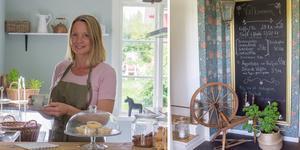 Paret Anna Maria och Rickard Bentzer har nu dragit igång kaféverksamhet och en butik på deras gård i Godkärra, Skinnskatteberg.
